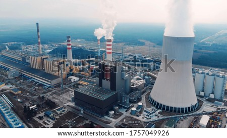 Aerial View Of Large Chimneys From The Kozienice Coal Power Plant In Poland - Swierze Gorne. Royalty-Free Stock Photo #1757049926