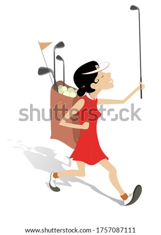 Golfer woman goes to play golf illustration. Smiling woman with golf club in the hand and golf bag goes to play golf illustration