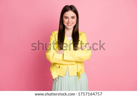Portrait of her she nice-looking attractive lovely pretty charming lovable fashionable cheerful cheery brunet girl folded arms isolated over pink pastel color background #1757164757