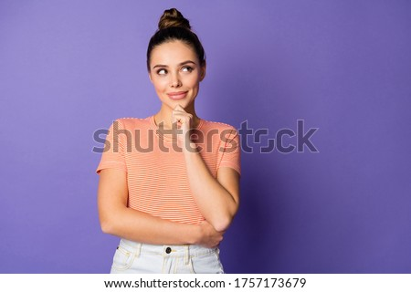 Close-up portrait of her she nice-looking attractive lovely sweet cute curious winsome cheery girl touching chin creating idea isolated bright vivid shine vibrant lilac violet purple color background Royalty-Free Stock Photo #1757173679
