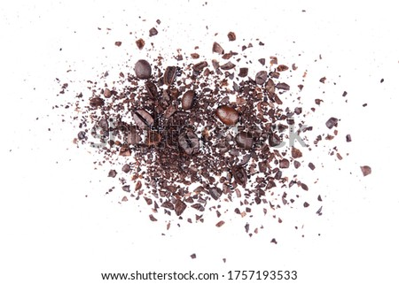 Coffee bean broken crushed splash isolated on white background object photo hi resolution