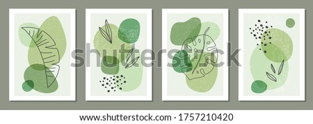 Set of minimal posters with abstract organic shapes composition in trendy contemporary collage style, can be used for wall art decoration, postcard, cover design Royalty-Free Stock Photo #1757210420