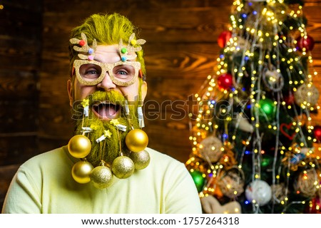 Happy new year. Holly jolly swag Christmas and noel. Home Christmas atmosphere. Christmas people celebration New Year. Portrait of a funny mature Santa Claus. Santa winter portrait #1757264318
