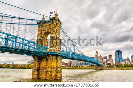 John A. Roebling Suspension Bridge between Cincinnati, Ohio and Covington, Kentucky spanning the Ohio River. United States #1757301665
