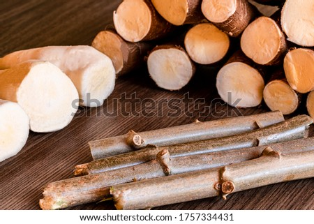 Cassava, also called manioc, yuca, balinghoy, mogo, mandioca, kamoteng kahoy, tapioca and manioc root, a woody shrub of the Euphorbiaceae family native to South America #1757334431