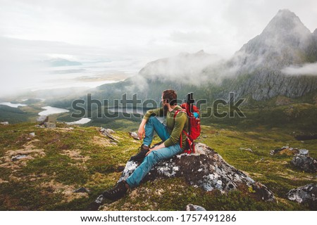 Man hiker exploring mountains of Norway Travel healthy lifestyle adventure trip hiking solo with backpack active vacations outdoor #1757491286