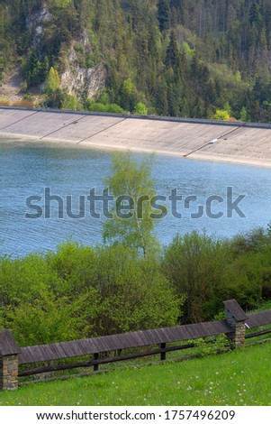 Niedzica Dam, great water dam. It is located in the Pieniny; dams the waters of the Dunajec; creating the Czorsztyn Lake; Niedzica Poland #1757496209