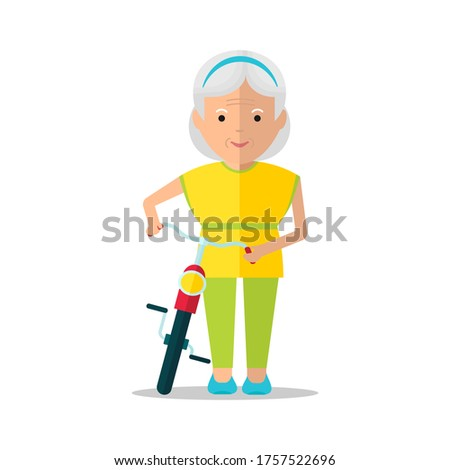 Elderly woman rides a bicycle. Cycling in the park. Grandma happy and cheerful.Cartoon flat illustration.