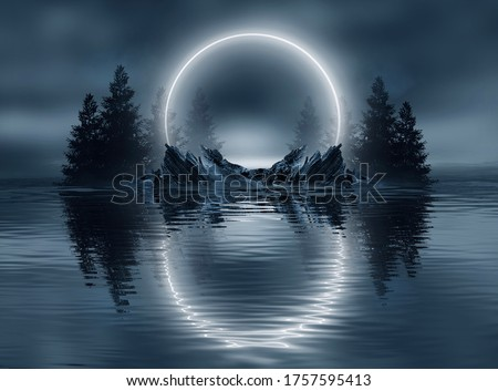 Dark cold futuristic forest. Dramatic scene with trees, big moon, moonlight. Smoke, shadow, smog, snow. Night forest landscape reflection in the river, sea, ocean. 3D illustration #1757595413