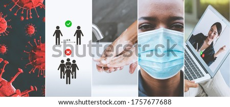 Coronavirus COVID-19 image set banner in concept of prevention information including safety precaution and doctor service to prevent spreading infection of covid-19 or 2019 Coronavirus Disease. Royalty-Free Stock Photo #1757677688