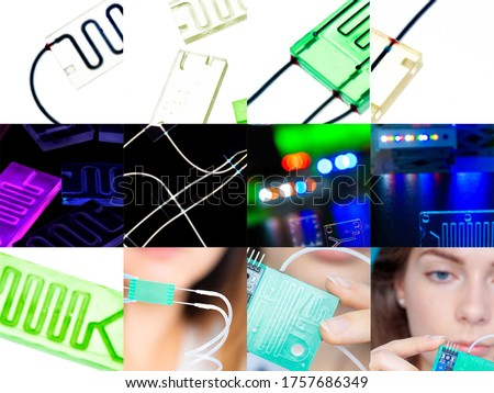 Organ-on-a-chip (OOC) - microfluidic device chip that simulates biological organs that is type of artificial organ. Prototype of design lab-on-a-chip in microfluidic laboratory #1757686349