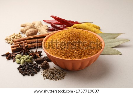 Colourful spices for curry Masala. Food ingredients for curry masala, indian spice mix with Powder. Selective focus #1757719007