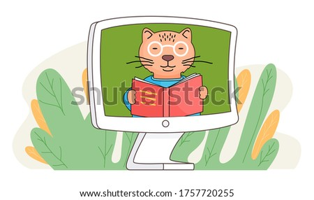 Cartoon character cat with book stands in the monitor screen and reading, children's online lesson, education concept. Videoconferencing and online meeting. Video call chat conference illustration