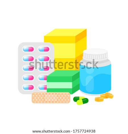 medicine drug pile isolated on white, illustration pill different for clip art