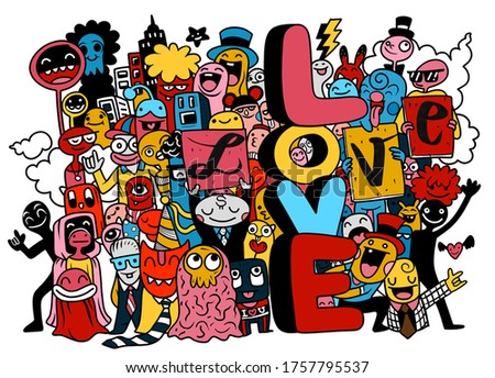 Illustration,Hand Drawn, Illustration of Doodle ,Flat Design happy young people holding letters love. cute Monster isolated on background
