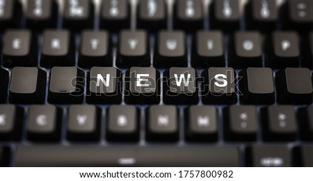 Online news, journalism concept. News word written on keypad. Black keys with white letters message for press articles on pc keyboard. Blur buttons background. Royalty-Free Stock Photo #1757800982