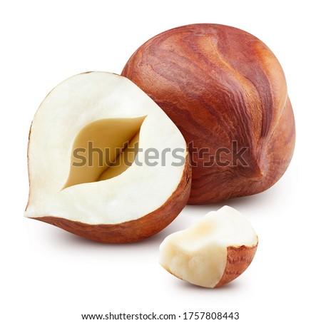 Hazelnut macro shoot food ingredient on white isolated. Fresh organic nut. Clipping path hazelnut. #1757808443