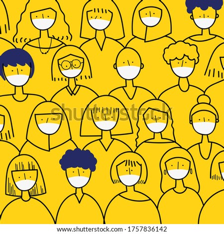 women wear medical mask illustration corona virus
