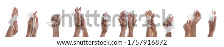 Closeup view of people cleaning hands with wet wipes on white background, collage. Banner design Royalty-Free Stock Photo #1757916872