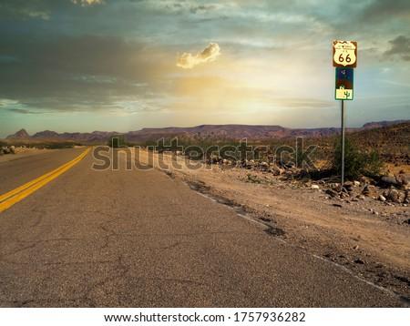 sunset route 66 in Arizona Royalty-Free Stock Photo #1757936282