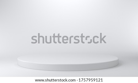 Shiny white round pedestal podium. Abstract high quality 3d concept illuminated pedestal by spotlights on white background. Futuristic background can be add on banners flyers ro web. 3d render. Royalty-Free Stock Photo #1757959121