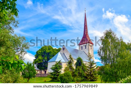 Rural church in summer scene. Summer rural church view. Rural church #1757969849