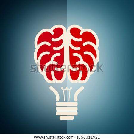 Brain as a lightbulb - Creative idea concept