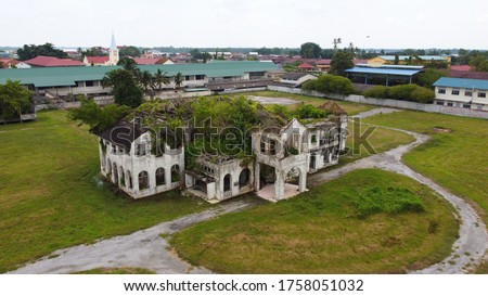 Drone view of abandoned old castle in Teluk Intan town. Previously known as 'Istana Raja Muda' . However since 1988, this castle was abandoned. Picture taken using drone.