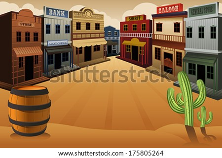A vector illustration of old western town