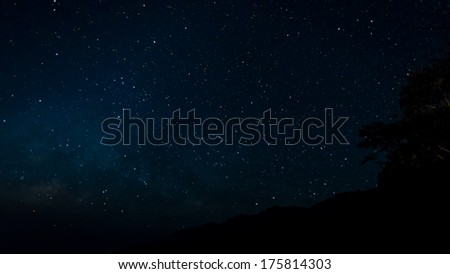 Star field in night sky with milky way high iso