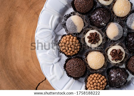 Brigadeiro. Typical Brazilian sweet. Many types of brigadiers together.Top View Royalty-Free Stock Photo #1758188222
