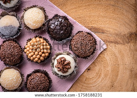 Brigadeiro. Typical Brazilian sweet. Many types of brigadiers together.Top View Royalty-Free Stock Photo #1758188231