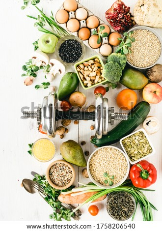 Sports Diet Nutrition for Athletes Top View on Raw Health Products Royalty-Free Stock Photo #1758206540