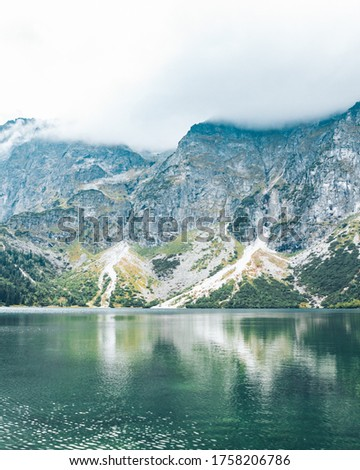landscape view of autumn lake in mountains tatra national park