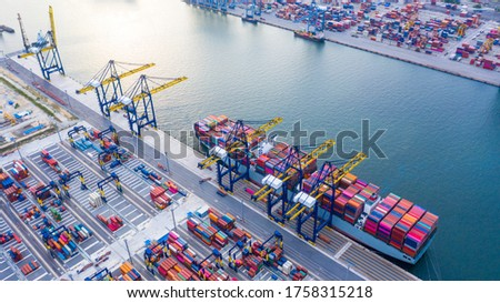 Container ship unloading in deep sea port, Global business logistic import export freight shipping transportation oversea worldwide container ship, Container vessel loading cargo cargo freight ship. #1758315218