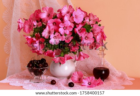 Pink flowers vase on table. Vase of pink flowers. Pink flowers still life. Pink flowers in vase #1758400157