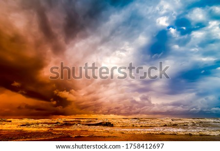 Stormy sky over the sea. Stormy sky sea. Stormy sky over storm sea #1758412697