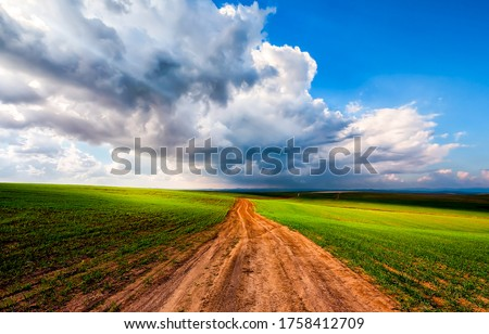 Summer rural field road landscape. Rural road in summer. Rural field road view. Rural road landscape #1758412709