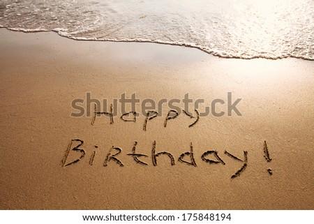 happy birthday postcard on the beach
