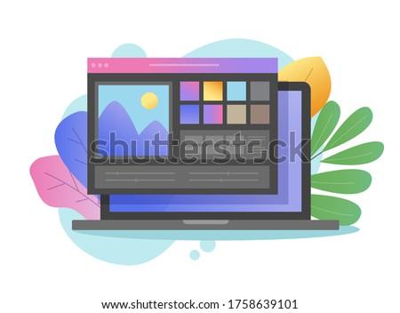 Artist studio picture creating on digital drawing program or photo editor app online image dark color software vector on laptop pc computer flat cartoon