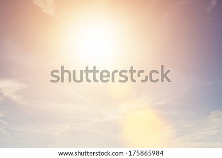 Sunny sky background in vintage retro style with sun flare #175865984