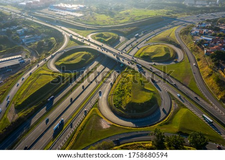 highway crossing in Campinas at dawn seen from above, Sao Paulo, Brazil, Royalty-Free Stock Photo #1758680594