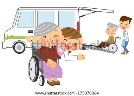 Care caregiver senior wheelchair car