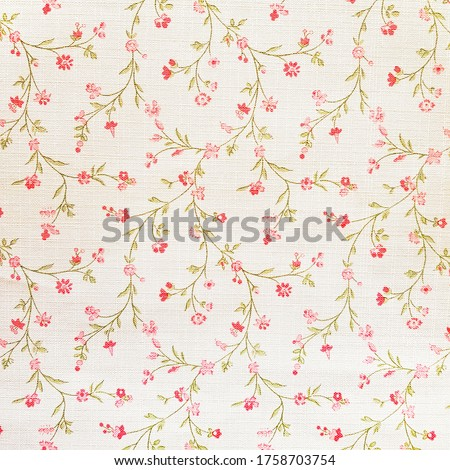 White ceramic tile with floral pattern for wall and floor decoration. Concrete stone surface background. Vintage texture with red flowers ornament  for interior design project. Royalty-Free Stock Photo #1758703754