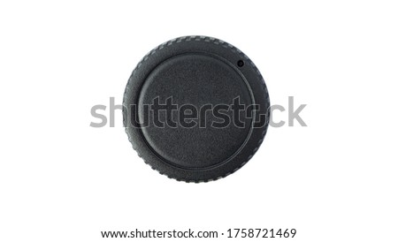 unbranded camera cap on white background, isolated camera cap, dslr body cap #1758721469