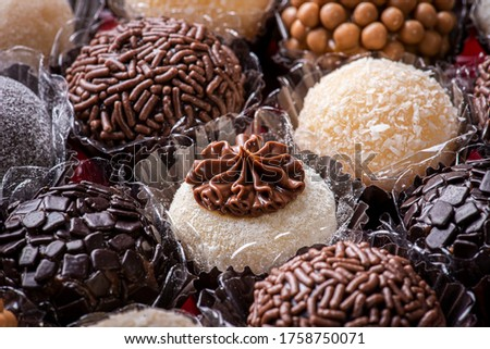 Brigadeiro. Typical Brazilian sweet. Many types of brigadiers together. Royalty-Free Stock Photo #1758750071