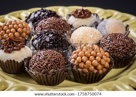 Brigadeiro. Typical Brazilian sweet. Many types of brigadiers together. Royalty-Free Stock Photo #1758750074