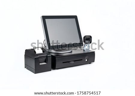 Point of sale touch screen system with thermal printer and cash drawer isolated on white Royalty-Free Stock Photo #1758754517