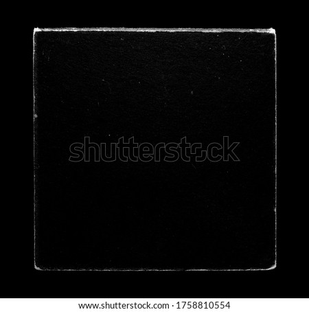 Old Vinyl CD Record Cover Package Envelope Template Mock Up. Black Scratched Shabby Paper Cardboard Square Texture.  Royalty-Free Stock Photo #1758810554