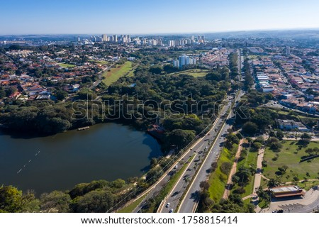 Taquaral lagoon in Campinas at dawn, view from above, Portugal park, Sao Paulo, Brazil, #1758815414